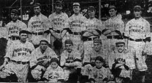McDonough, middle row, second from left with the Rogers Parks in 1910.