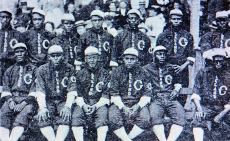 1910 Leland Giants--Seated, left to right, Johnson, Booker, Payne, Strouthers, Duncan, Pryor; standing, left to right, Petway, Lloyd, Hill, Dougherty, Bill Lindsay, Wickware, and Foster.