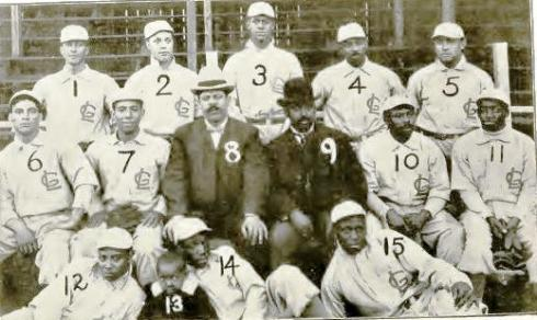 The 1905 Leland Giants--Jimmy Smith is 11.  Others mentioned in the letter: 1-Barton, 2-Mathews, 4-Taylor, 5-Harris, 6-Green, and 10-Binga