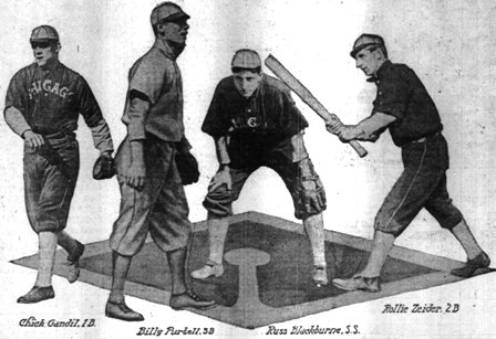 The new 1910 White Sox infield.