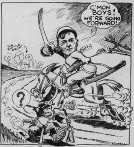Cartoon accompanying the announcement of Mathewson's appointment.