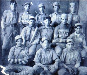 Mays, standing second from left, with the Cherokee Mens Seminary baseball team, 1903