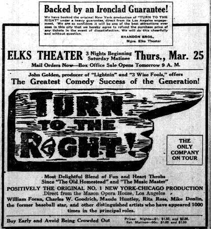 "Advertisement for ""Turn to the Right"" at the Elks Theater in Phoenix"