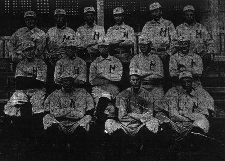 1908 Montgomery Senators.  Ryan is sitting center of middle row, Baxter is standing second from right.