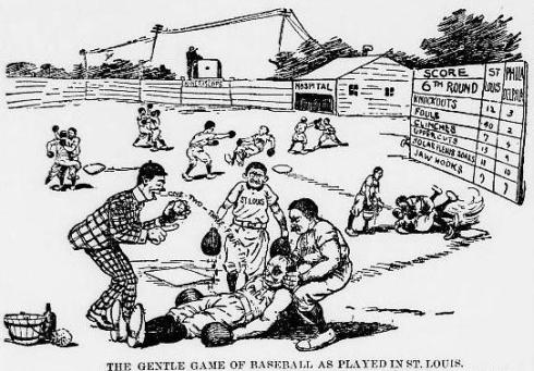 A cartoon in The Philadelphia North American about the fighting reputation of the 1900 Cardinals