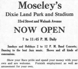 Ad for Moseley's Dixie Land Park