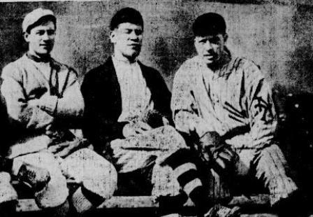 Milt Stock, Jim Thorpe and Moose McCormick at Marlin, 1913