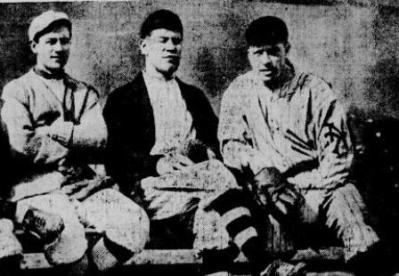 Milt Stock, Jim Thorpe and Moose McCormick at Marlin, 1913