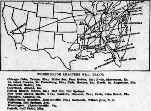A map showing the 1914 spring training locations of big league teams