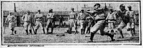 An International Film Service photo of the Giants training in Marlin in 1916