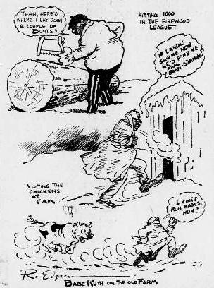 Robert Edgren, most famous for his drawings from Cuba which appeared in Hearst Newspapers in 1898 and helped fuel public support of the Spanish-American War , drew his take on Ruth's winter of 1922 activities in The New York Evening Journal.