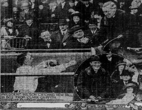 "Woodrow Wilson at the 1912 Opener--""Catching new ball in Box from Clark Griffith"" and ""Wilson the fan."""